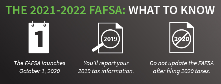 The FAFSA launches October 1, 2020