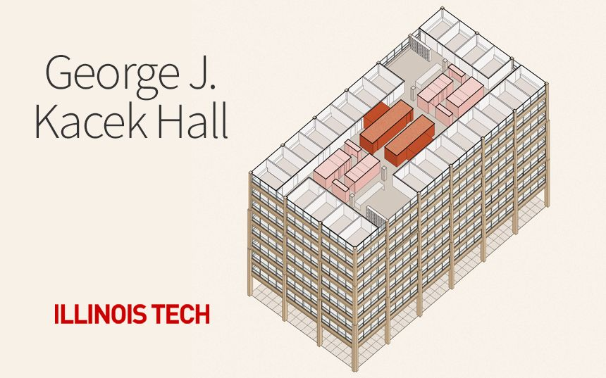 George J. Kacek Hall Illinois Tech Illustration of the exterior of the building