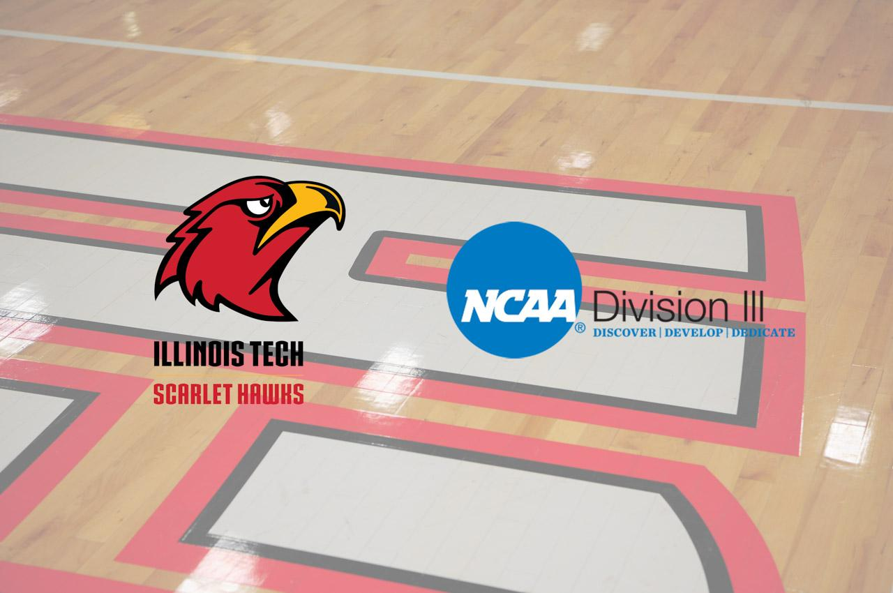 Image of basketball floor and logos