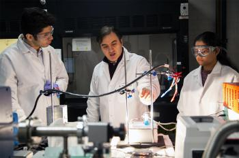 Asadi and his students experiment using a solar cell