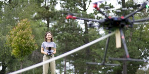 An MMAE student controls a drone