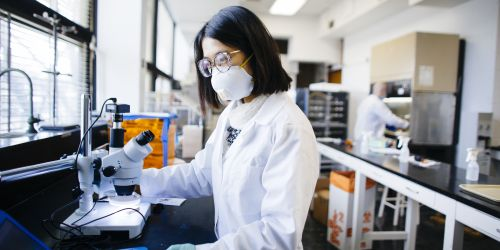 A Ph.D. student conducts air quality research in a lab