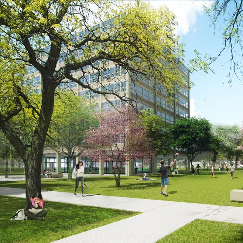 A photo rendering of the outside of Kacek Hall