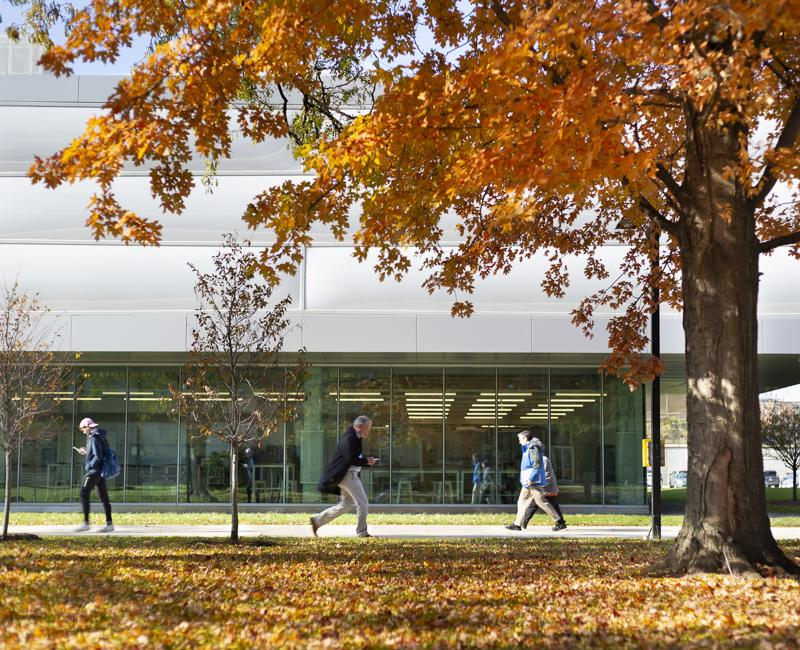 Students walk by the Kaplan Institute on a fall day