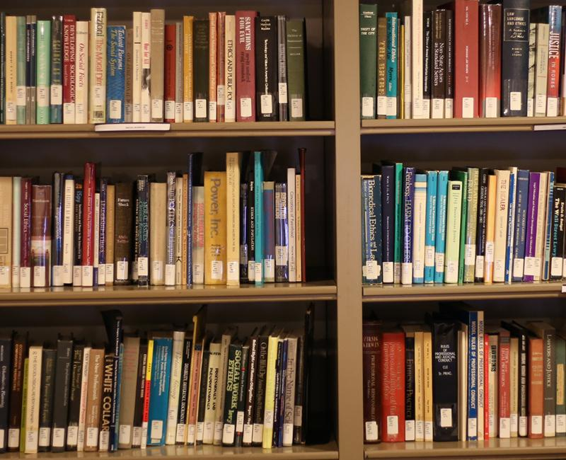 A photo of books inside the ethics library