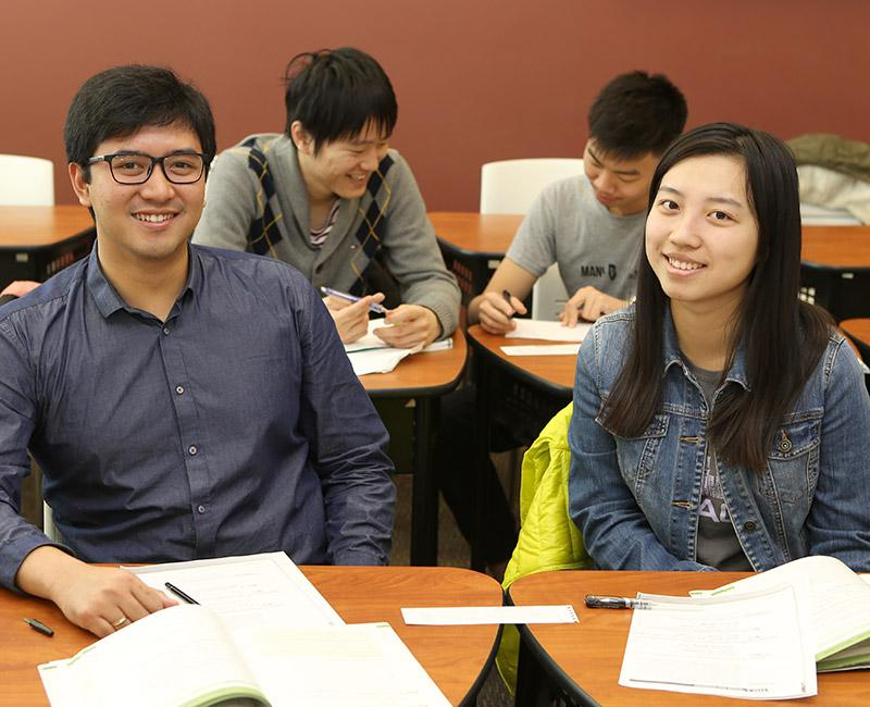 Multiple International Students studying in the English Language Services Office