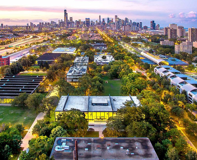 Aerial photo of campus looking toward downtown Chicago.