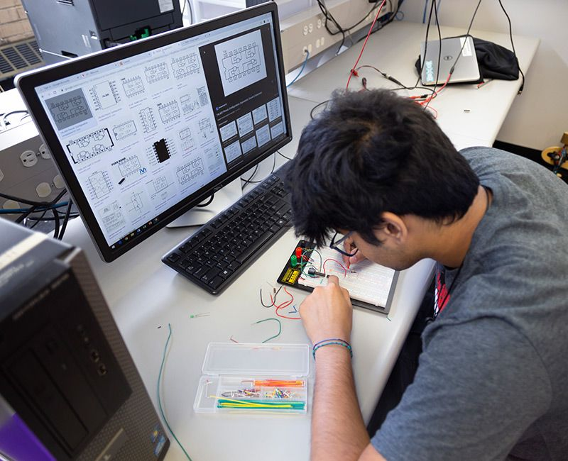 Student prototyping electronics